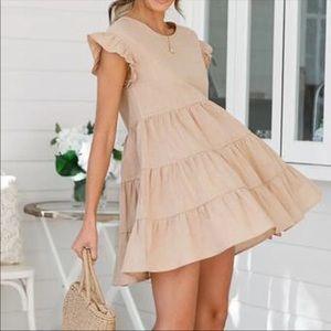 Tan Ruffle Dress
